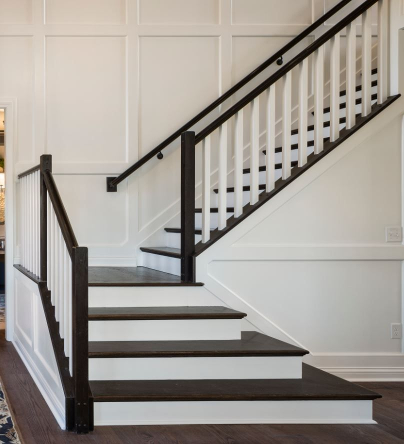 ESPRESSO STAINED RAILING WITH WHITE PAINTED CONTEMPORARY