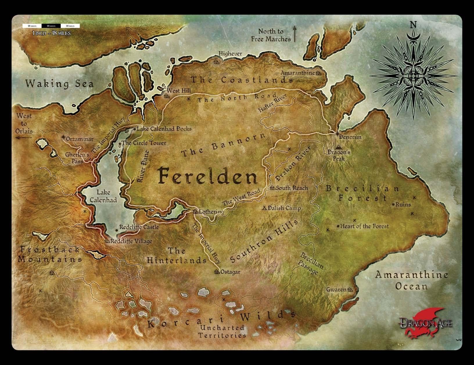 Dragon Age Map Of Ferelden Dragon Age Origins Dnd Dragons
