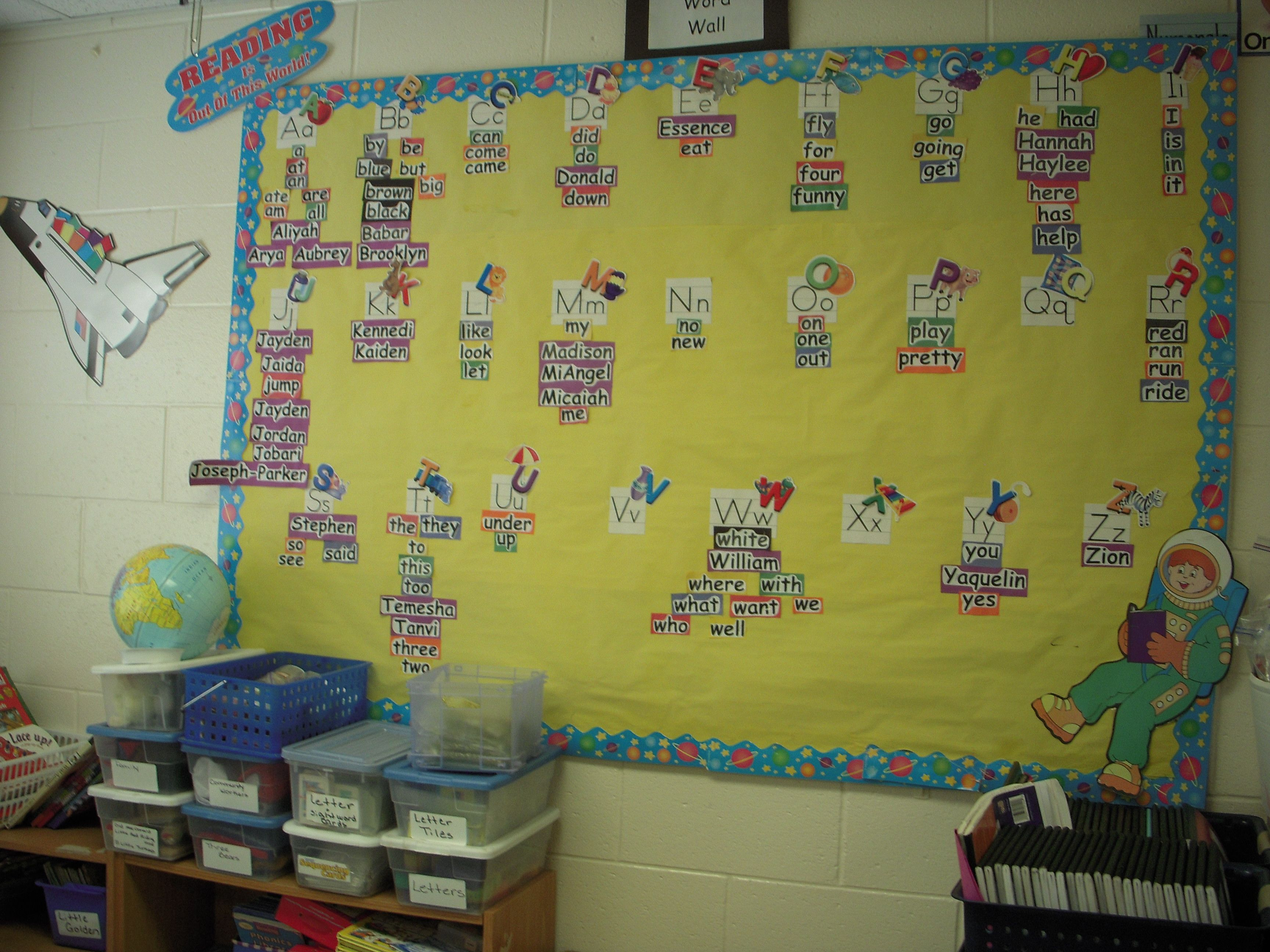 The word wall is used to teach kindergarten students reading words ...