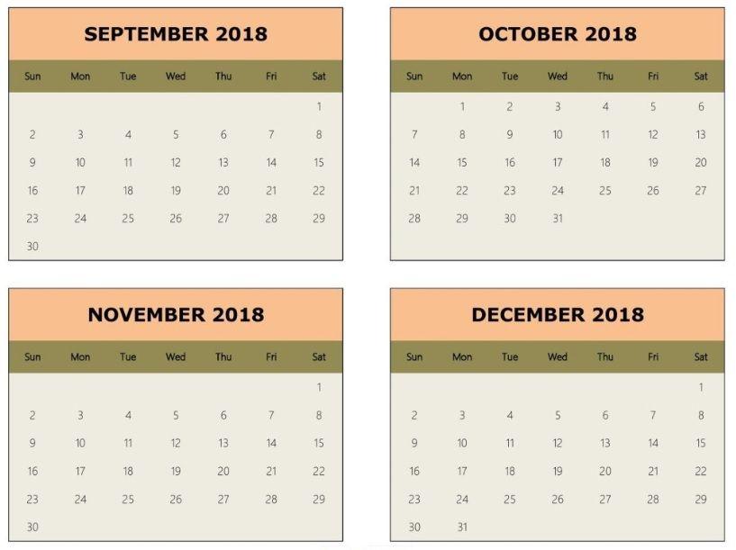 2018 last 4 months calendar 2018 Calendars Pinterest Calendar