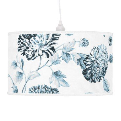 #flower - #Blush Teal Blue Botanical Floral Toile No.2 Ceiling Lamp