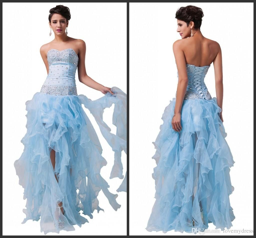 Prom Gowns Cheap Crystal Sparked Elegant Lace Up Back Custom Made ...