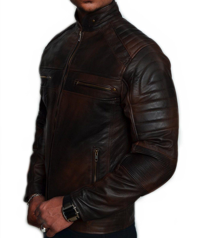 2c3c54c78 Mens Biker Vintage Motorcycle Distressed Brown Cafe Racer Leather ...