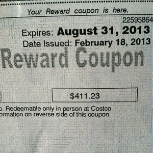 costco american express reward coupon expired
