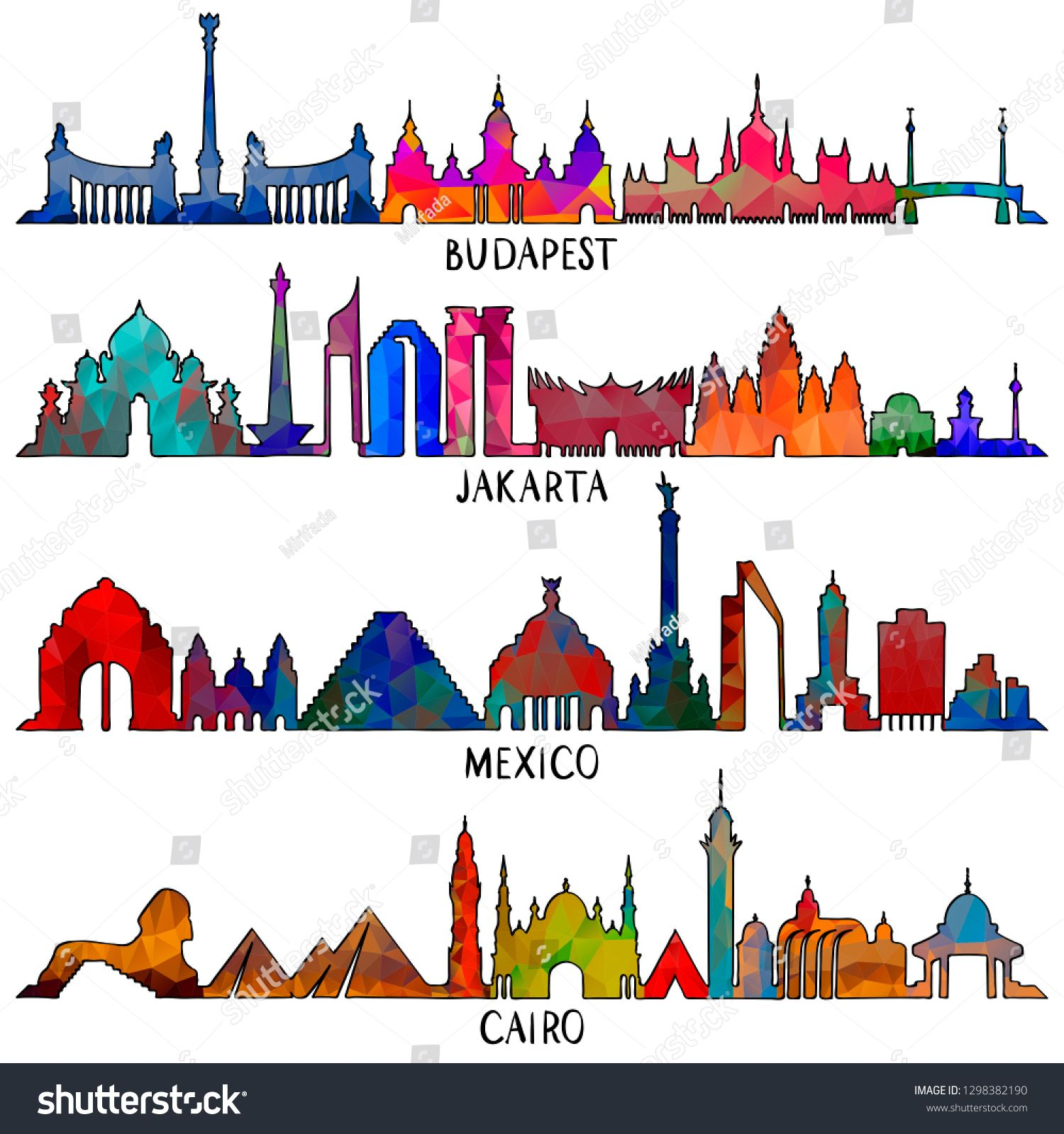 Travel and tourism line vector illustration. Mexico, Budapest, Jakarta and Cairo ,