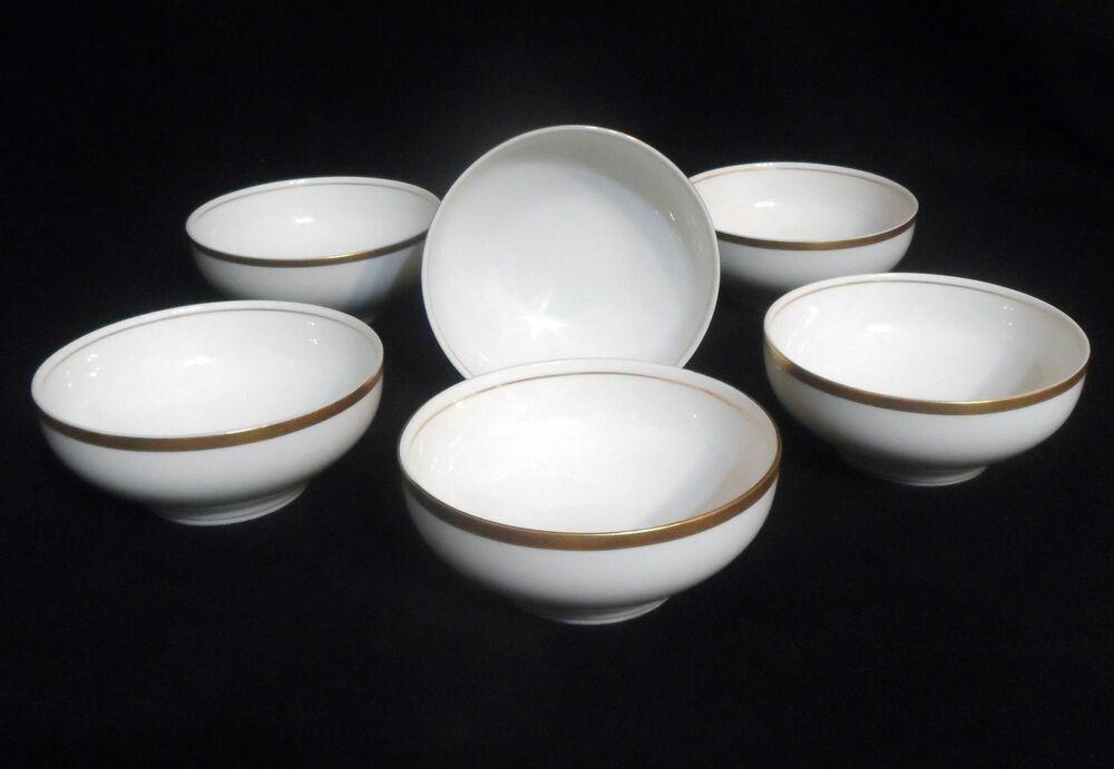 Vintage O P Co Syracuse China Set Of 6 Rice Bowls White With Gold Trim Rings Syracusechina Syracuse China China Sets Trim Ring