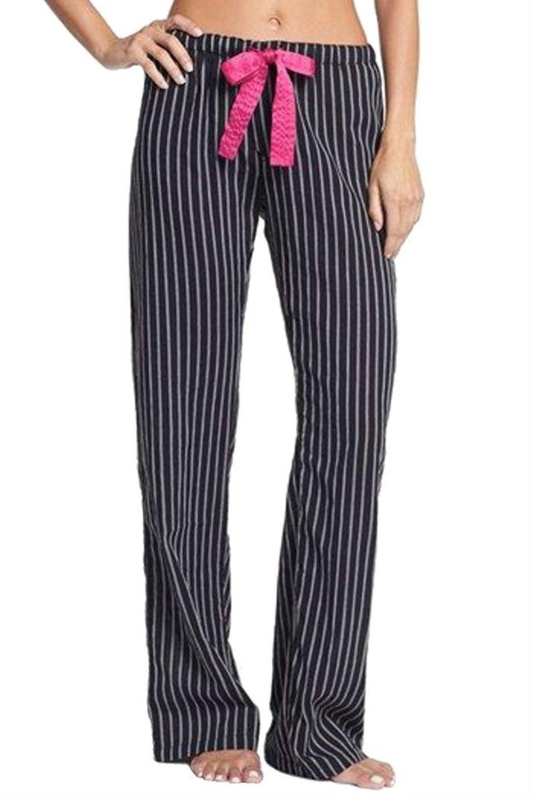 """Black pajama or lounge bottoms with a grey and pink thin stripe and a pink satin drawstring tie so you can adjust the fit. The pop of pink adds the perfect feminine touch, and a hidden 3-button fly is added fun. Lightweight, premium quality cotton gets even better with age.    Measures: 9"""" rise; 32"""" inseam   Black Striped Bottoms by The Dressing Room. Clothing - Lingerie & Sleepwear - Sleepwear California"""