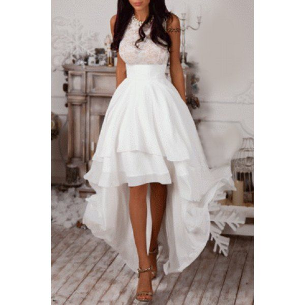 White sleeveless high low prom maxi dress gothic dresses for Maxi dress for wedding reception
