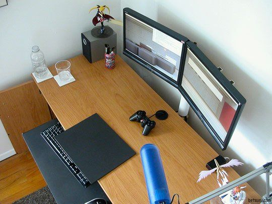 Create your own cheap dual monitor stand for 15 dual - Small office setup ideas ...