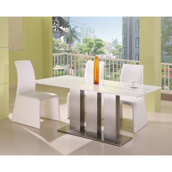 Lorenzo Contemporary White Marble Dining Table  4 Chairs Inspiration White Dining Room Chair Decorating Design
