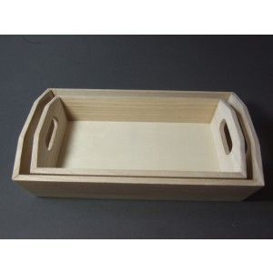 Wooden Trays To Decorate Extraordinary Set Of 2 Plain Wooden Trays  Ready To Craft  Decorate  Plain Review