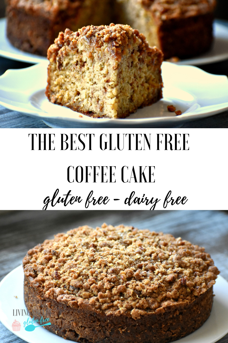 This easy gluten and dairy free coffee cake is my favorite treat to serve to guests, or take as a gluten free pot luck recipe. It is moist with the perfect crumb topping. It is so delicious no one will ever know its gluten free. #glutenfreerecipes #glutenfreebreakfasts