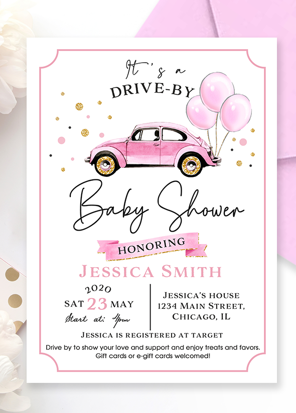 Girl Drive Through Baby Shower Invitation Player Baby Shower Invitation Parade Drive Through Baby Shower Invitation Reader Through The Invitations Of T Acryl