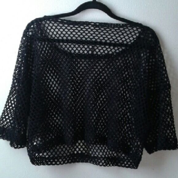 51508383dad Unique Fishnet Crop Top Black fishnet crop top from Blackheart Lingerie. Thick  fishnet with wider