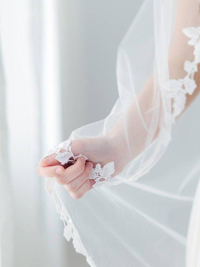 Schleier mit blätterpitze aus soft tüll eva elegante boho glam