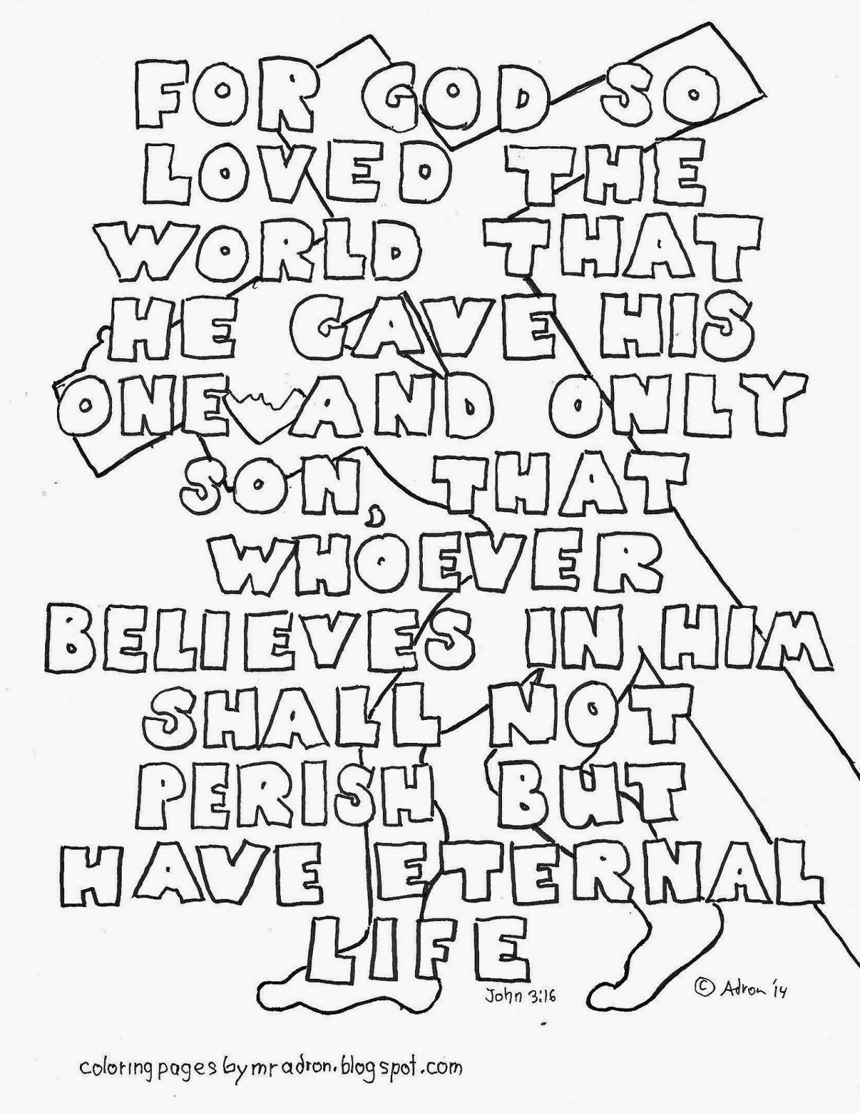 John 3 16 Printable Coloring Page For God So Loved The World That He Gave His On Sunday School Coloring Pages Bible Verse Coloring Bible Verse Coloring Page