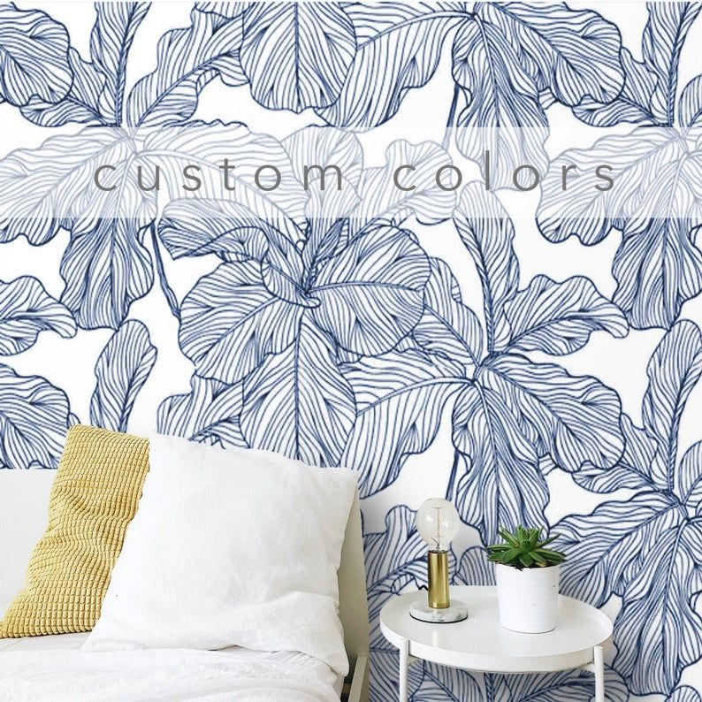 Peel And Stick Wallpaper Leaves Blue And White Removable Self Etsy Blue And White Wallpaper Peel And Stick Wallpaper Traditional Wallpaper