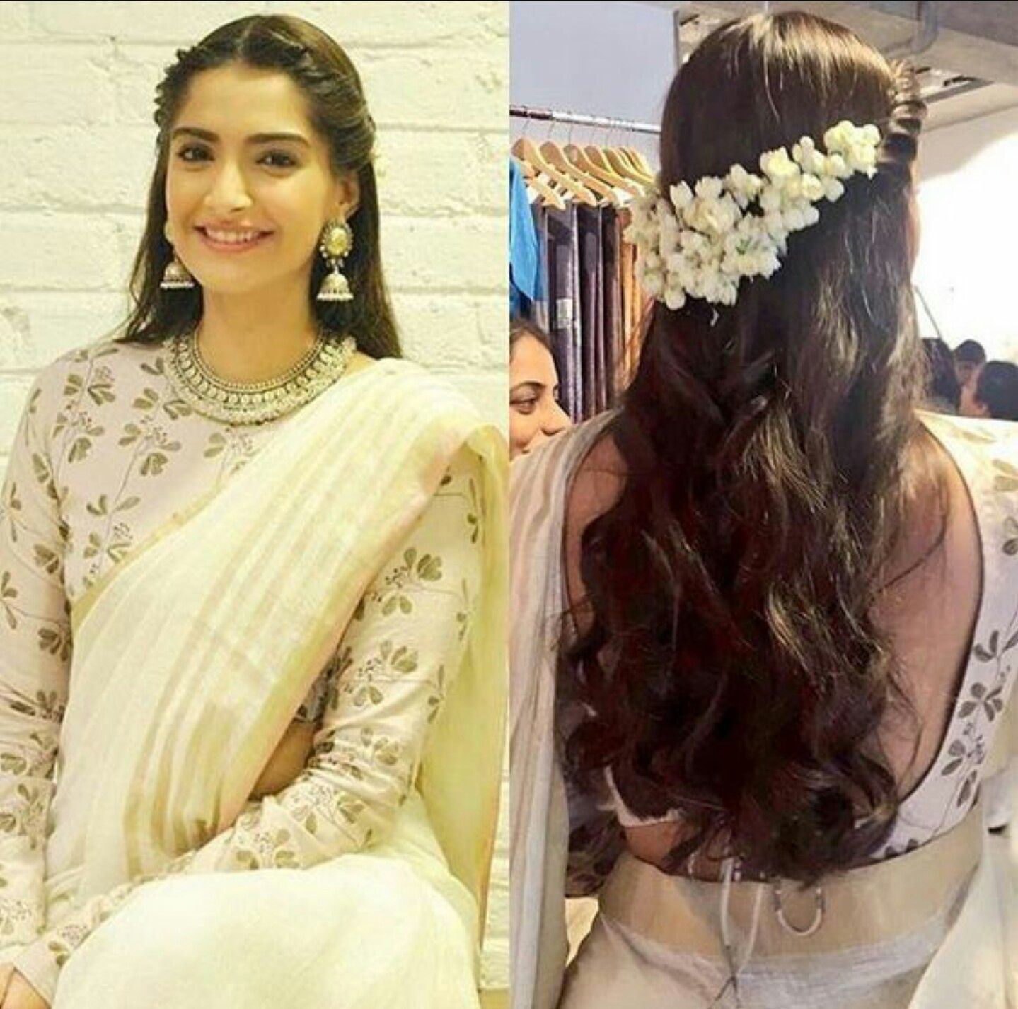 Beautiful modem way of putting jasmine flowers in hair