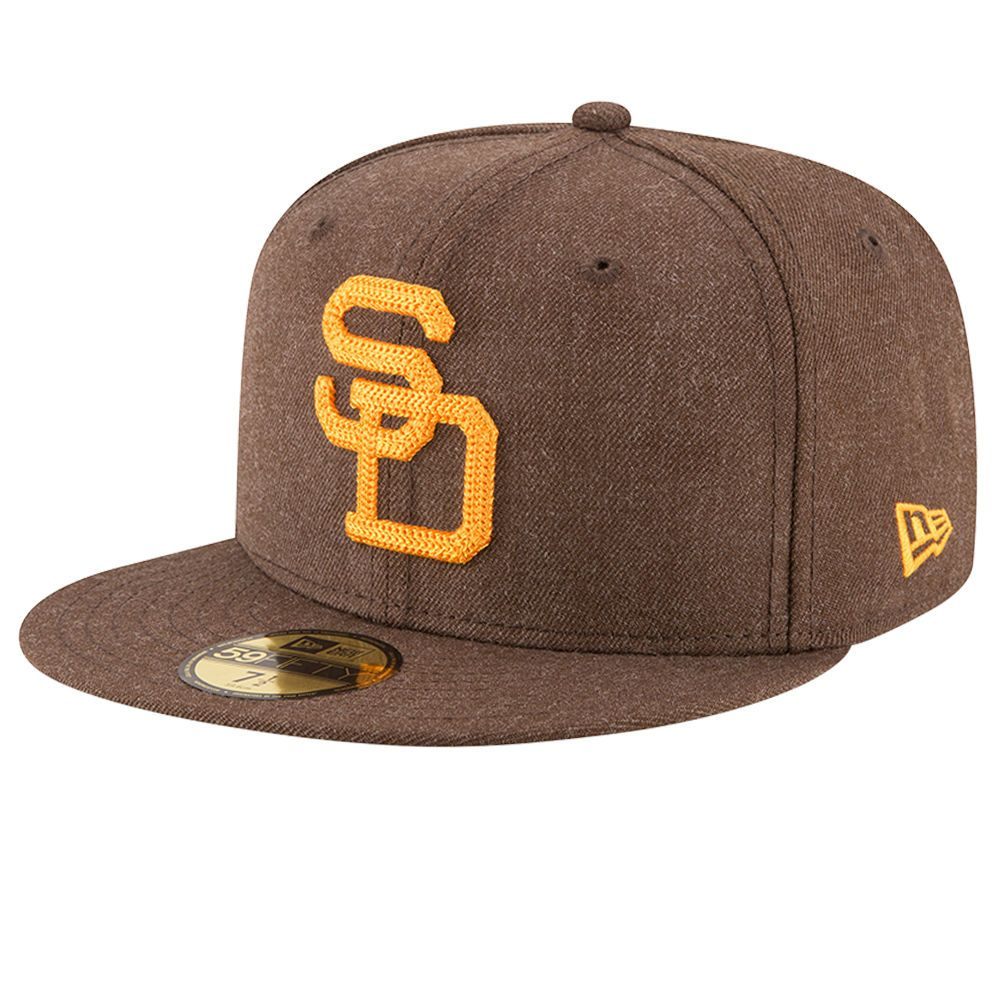 San Diego Padres New Era Cooperstown Collection Heather Crisp Fitted Hat -  Brown 11551b392583