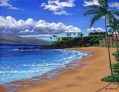 Black Rock Maui Hawaii Painting Picture Kaanapali Beach