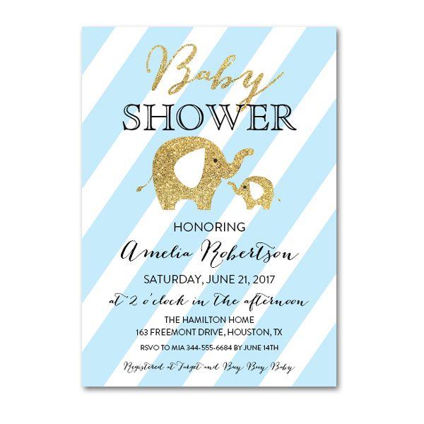 Editable Pdf Baby Shower Invitation Diy Blue Gold Glitter Elephant