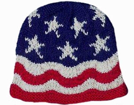 Knitting Pattern, Hand Knit Hat, Waves of Glory, American Flag Hat ...