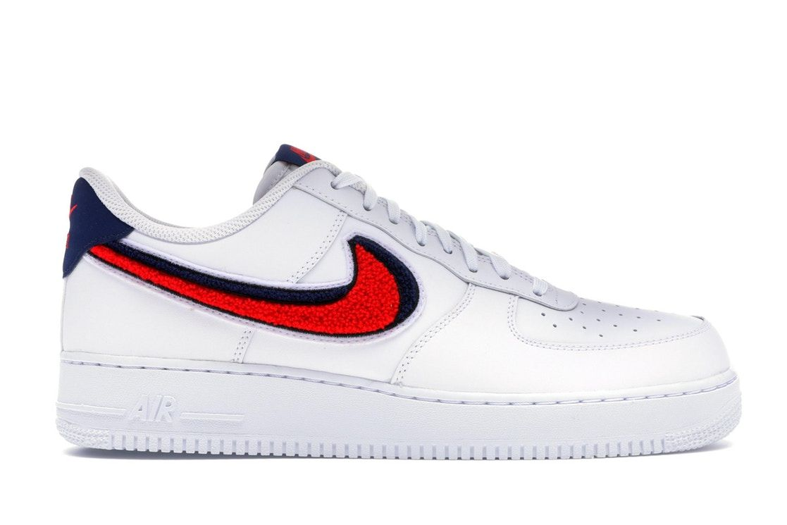 Nike Air Force 1 Low 3d Chenille Swoosh White Red Blue With