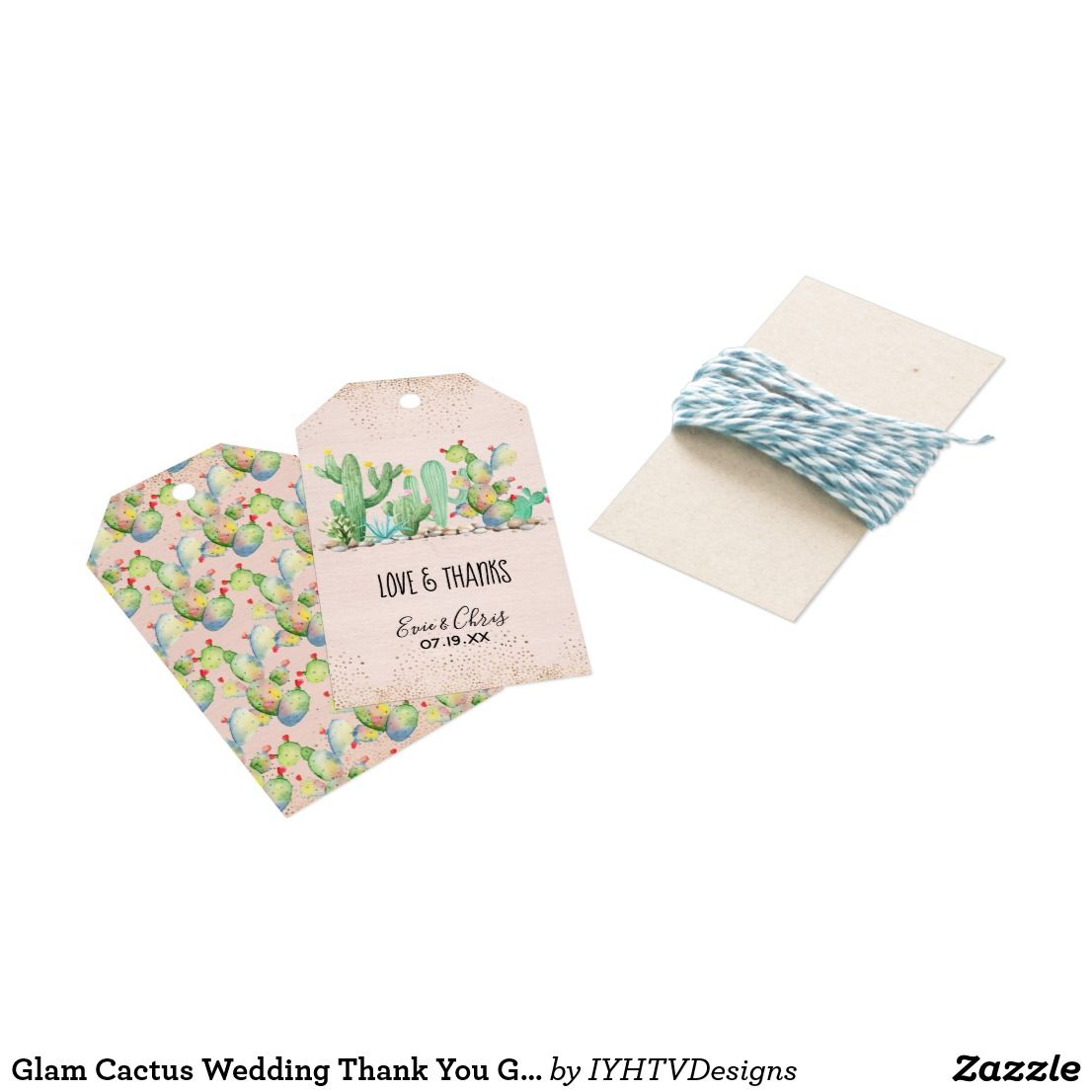 Glam Cactus Wedding Thank You Gift Tags   Cactus wedding, Favors and ...