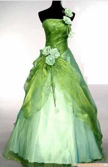 green wedding dress.