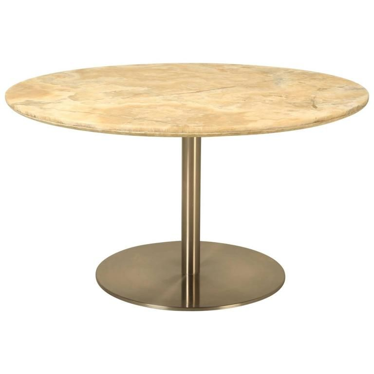 Round Dining Table In Onyx Stone And
