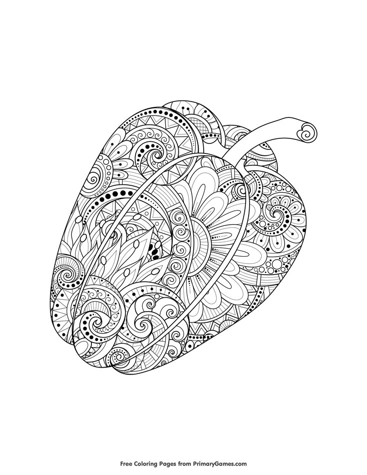 fall zentangle coloring pages | Bell Pepper Zentangle Coloring Page • FREE Printable eBook ...