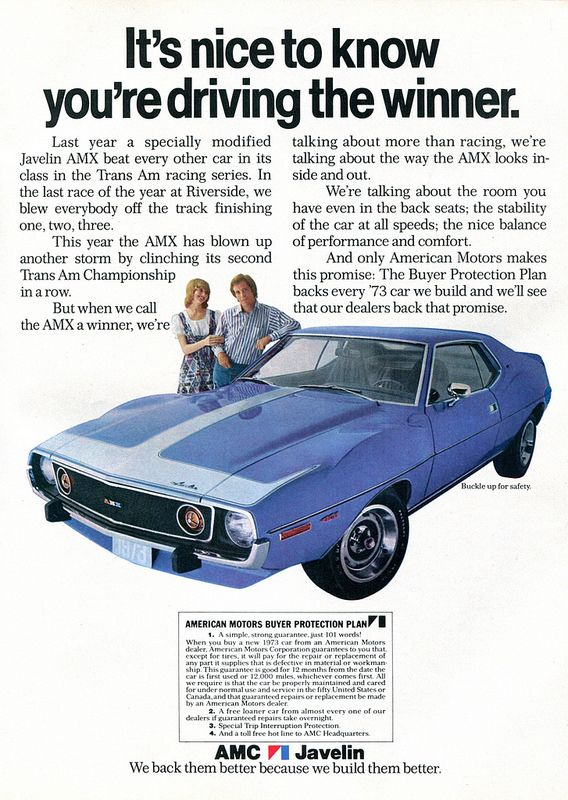 1973 Amc American Motors Javelin Amx Advertisement Hot Rod October