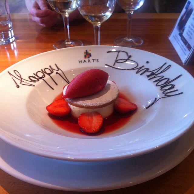 Birthday Dessert At Harts Restaurant Nottingham.