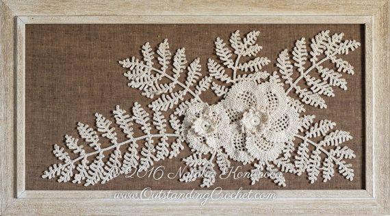 Irish Crochet Applique PATTERN - Poppy Flower with Fern - Leaf Lace Motif - Fiber Art - Home Wall Decor - PDF #irishcrochetmotifs