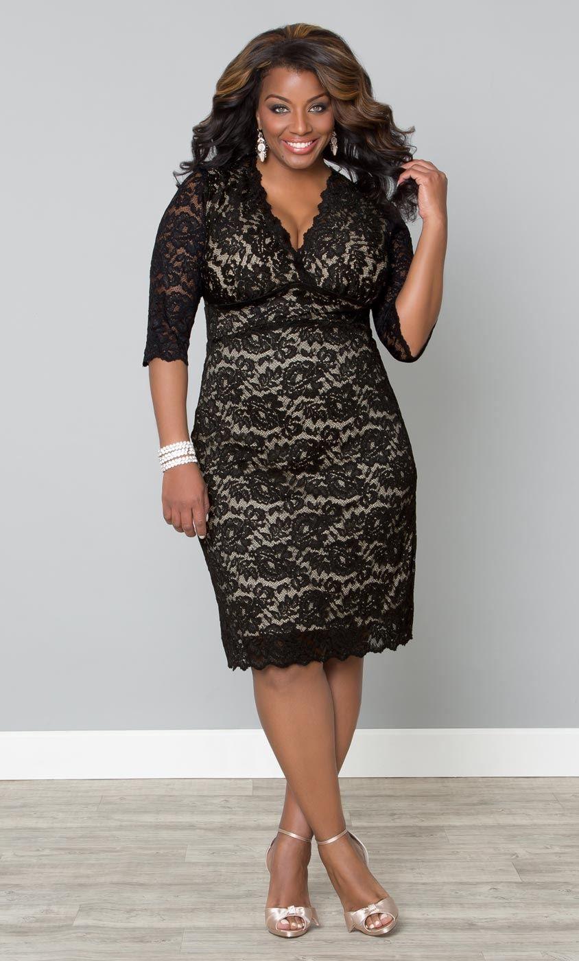 Scalloped Boudoir Lace Dress Plus Size Special Occasion