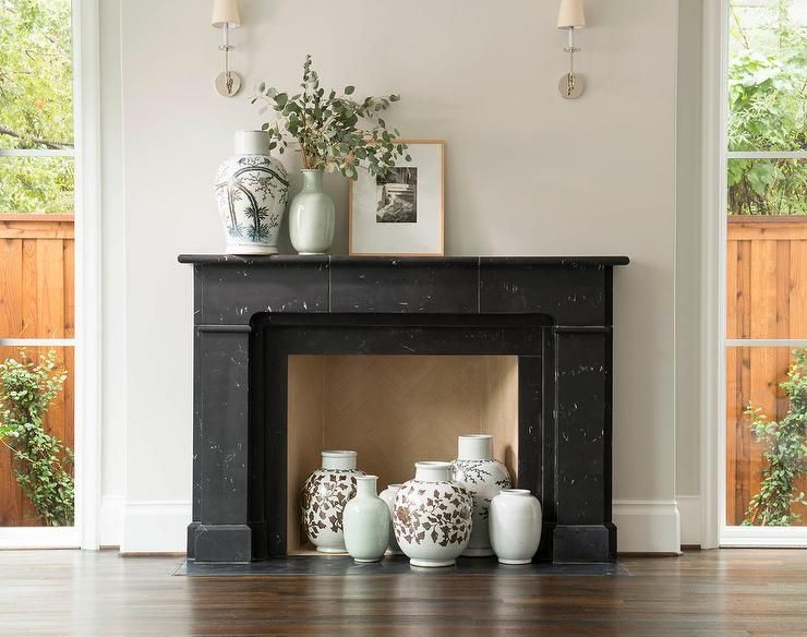 Green Ceramic Wooden Fireplace Mantel Designs