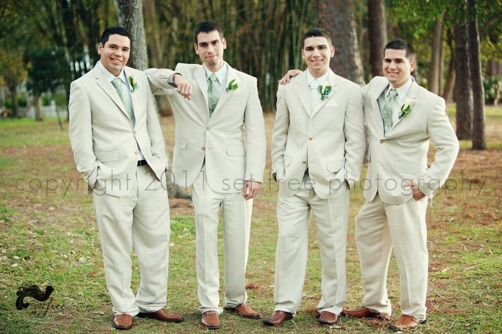 groom groomsmen khaki beige linen suit suits green paisley ties paisely calla lily boutonnierre