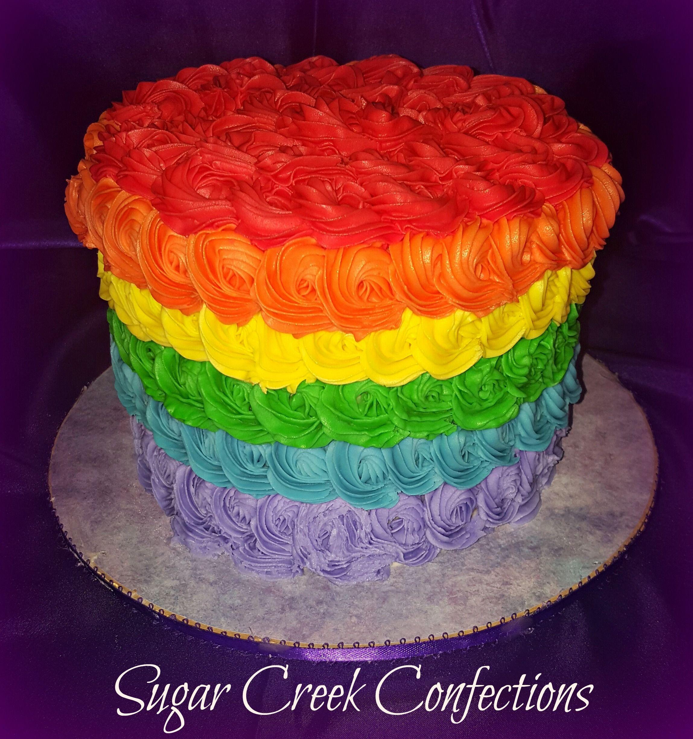 Rainbow Smash Cake - rosette rainbow smash cake