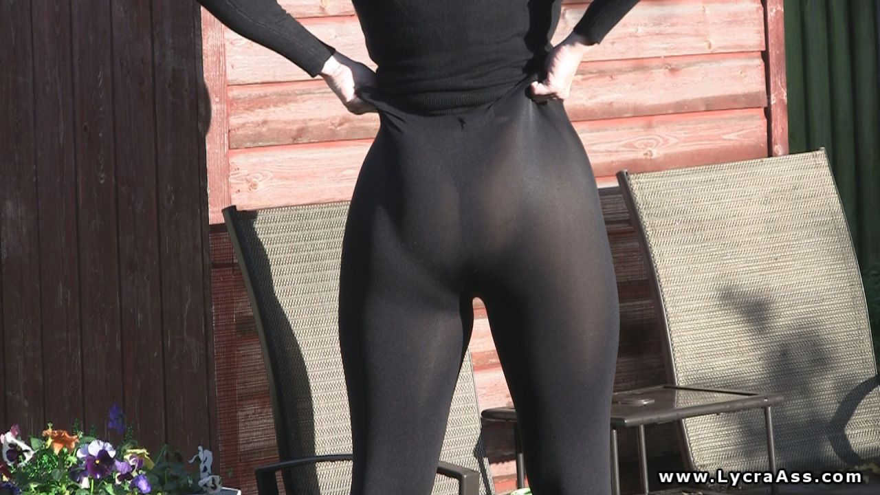 sexy ass wife in sheer see-through lycra leggings | lycra & spandex