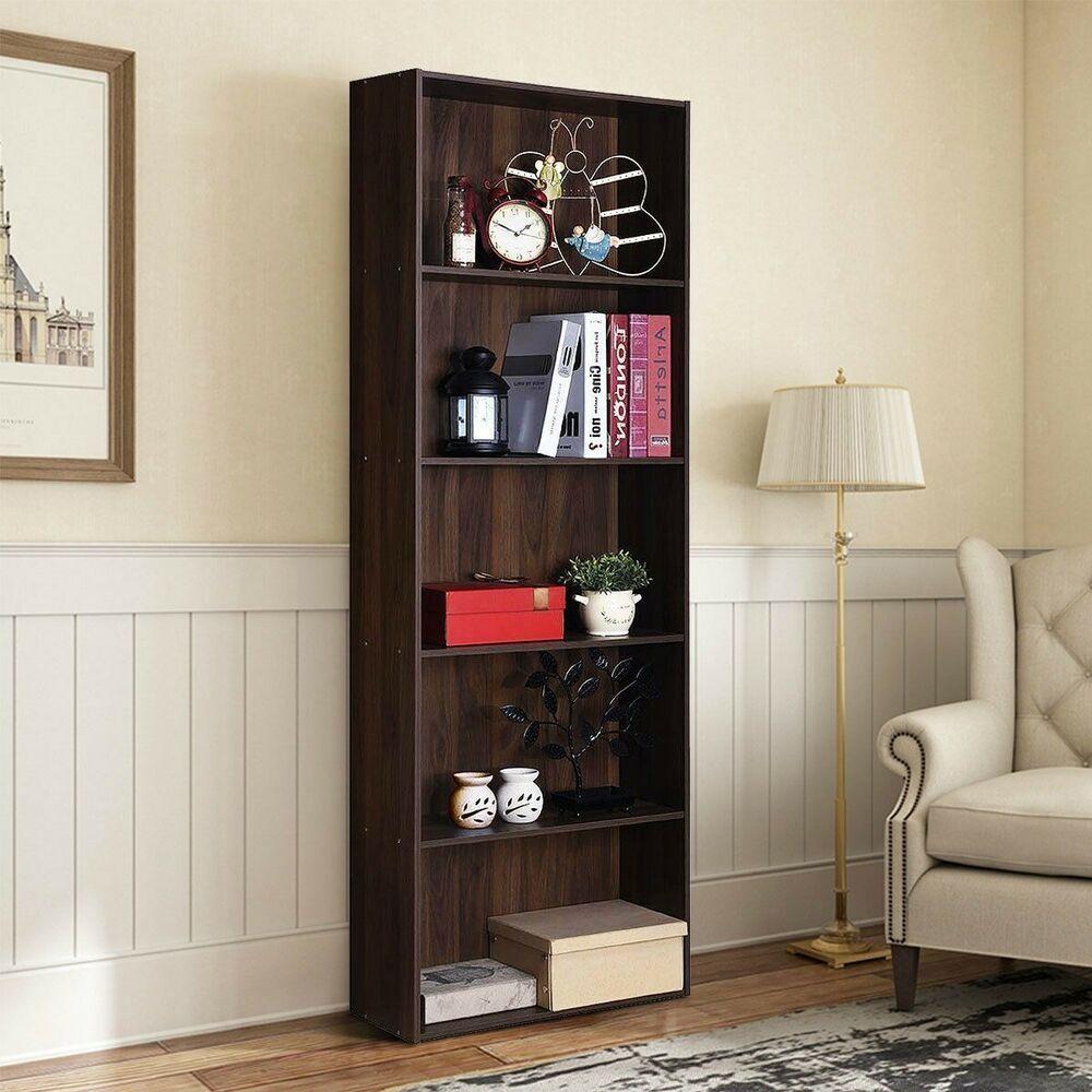 Bookcases 5 Shelf Storage Bookcase Modern Walnut Shelving