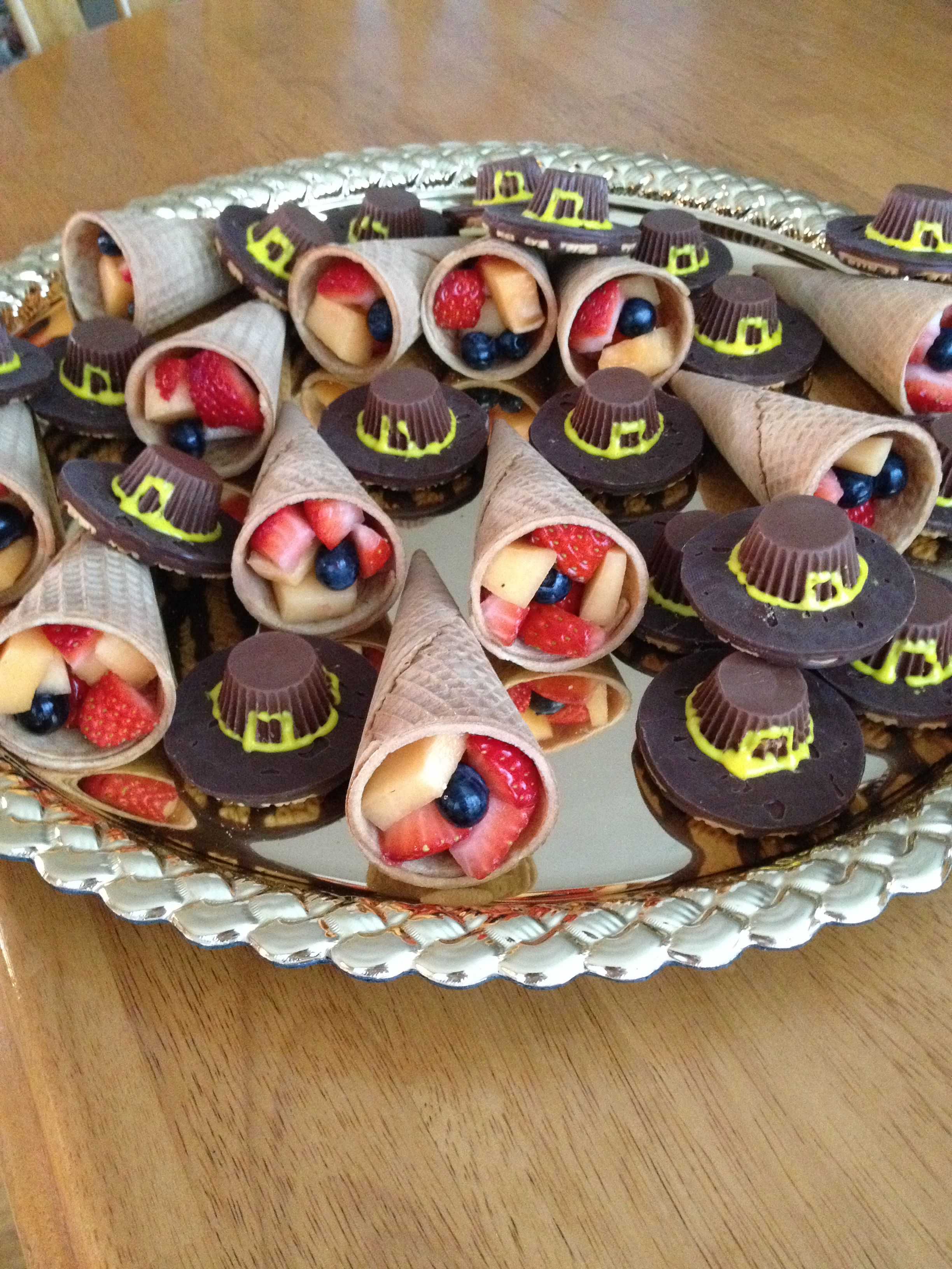 Cornucopia Fruit Cups And Pilgrim Hat Cookies