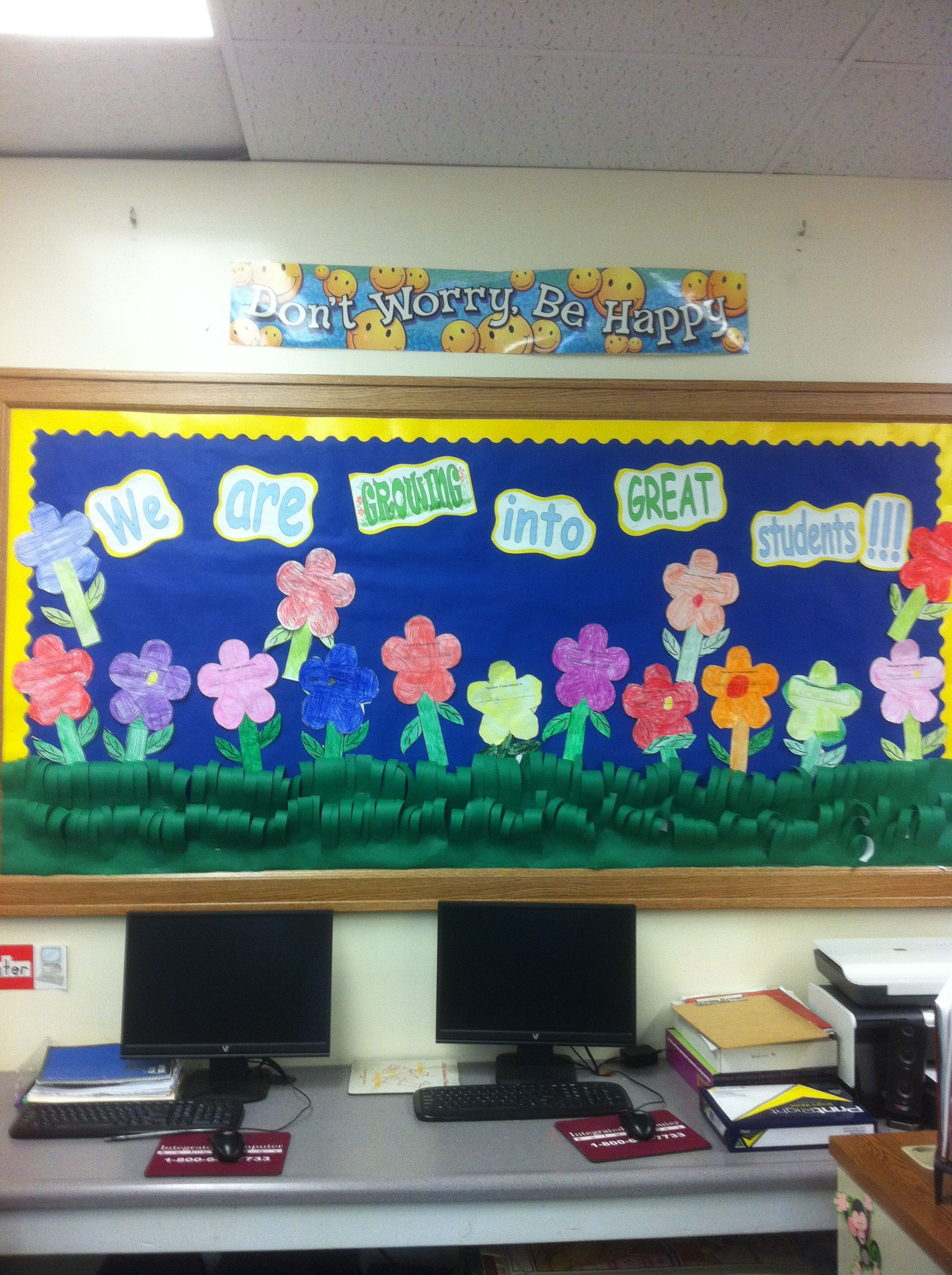 My latest bulletin board! I had the students write on the flowers one thing they learned this year. Then they color, cut and pasted the flower to the stem. This was quite a task for Kindergarten, but they did great!! I'm so proud of them!
