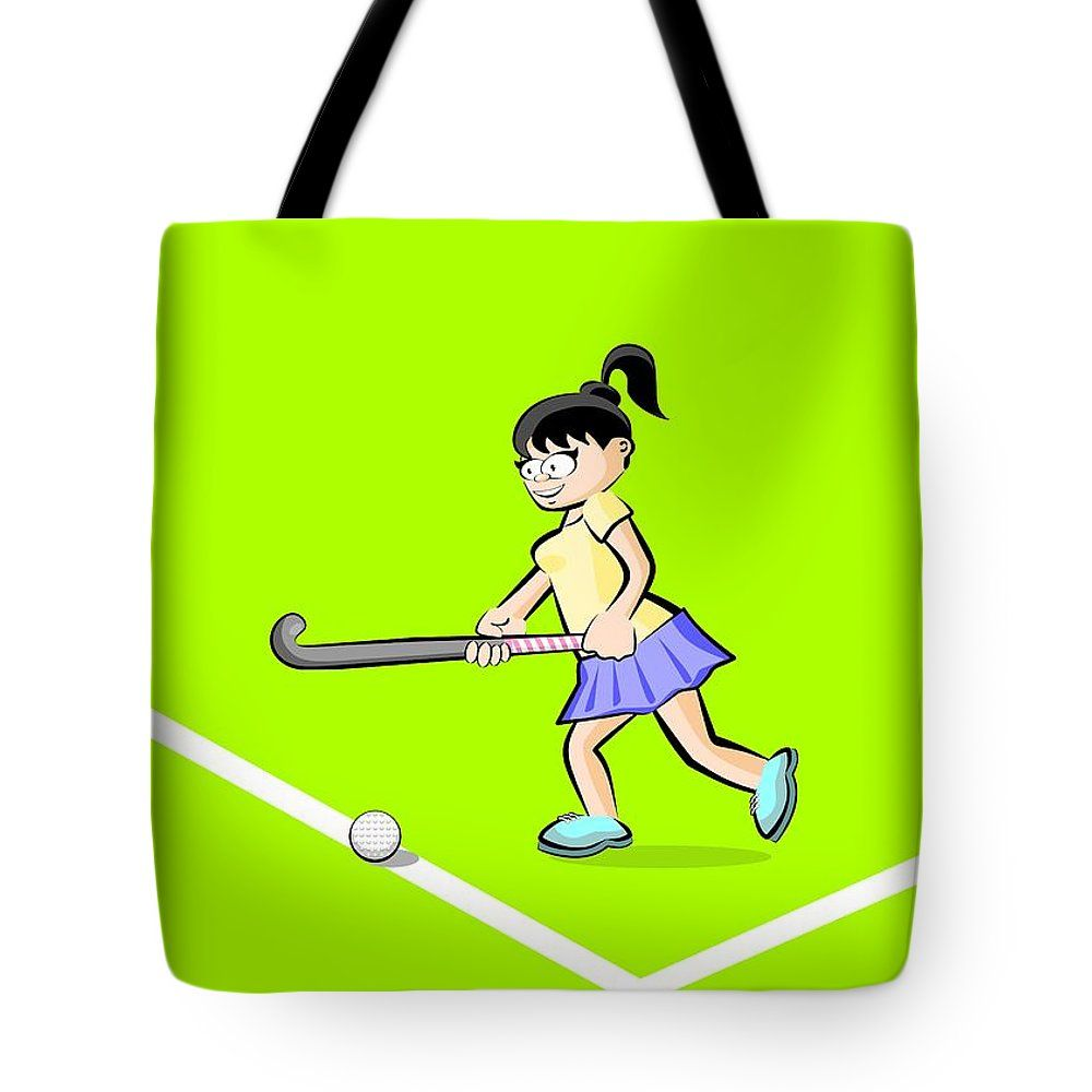 Girl Advancing Hitting The Ball With Her Stick In A Field Hockey Tote Bag By Daniel Ghioldi Hockey Woman Women Female Player G Tote Bag Bags Unisex Tote
