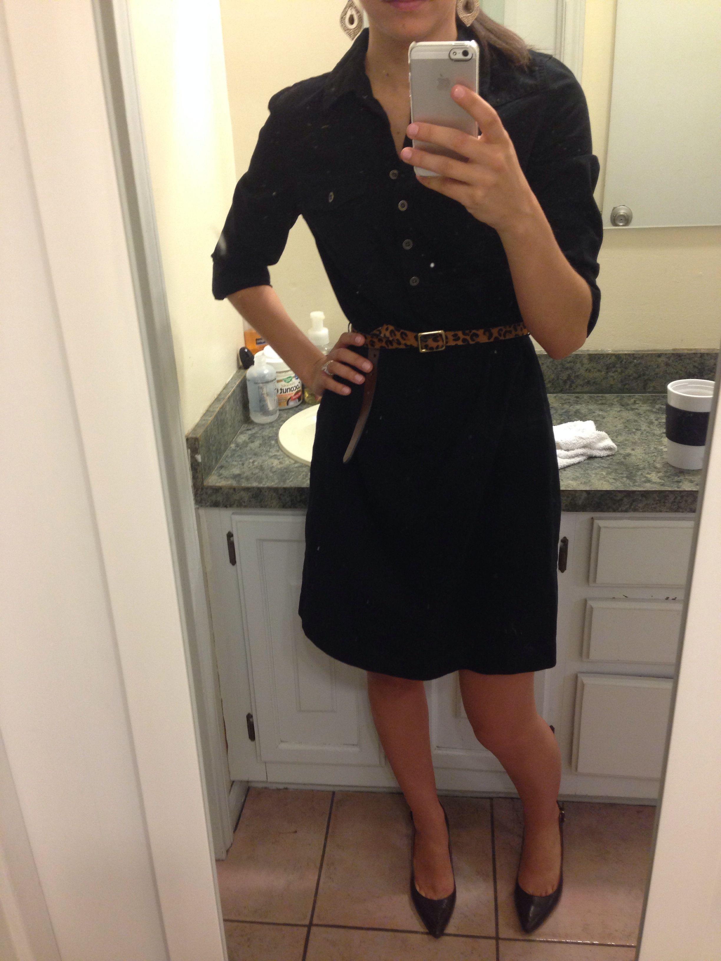 Black Shirt Dress Leopard Skinny Belt Black Pumps Business Casual Work Wear Outfit Work Wear Outfits Casual Work Wear Black Shirt Dress [ 3264 x 2448 Pixel ]
