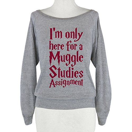 """(Back in stock) - Harry Potter – Muggle Studies Athletic Shirt. """"Yeah, I'm only putting up with all this crap because I'm writing a paper. Well, not really a paper- more of a scroll. You know, like a few feet of parchment. It's just something wizards use to write on."""""""