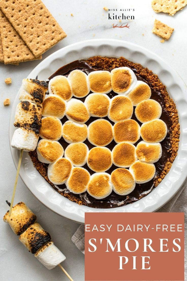 Easy S'mores Pie with Graham Cracker Crust This Easy S'mores Pie with Graham Cracker crust has a dairy-free rich chocolate filling, a buttery tasting graham cracker crust, and toasted marshmallows on top. All you have to do is make the crust, the filling comes together on the stovetop making it so simple. You don't need a campfire to make this dessert. This is better than cookies and cupcakes because you only have to make one pie to serve s'mores to a crow year-round.