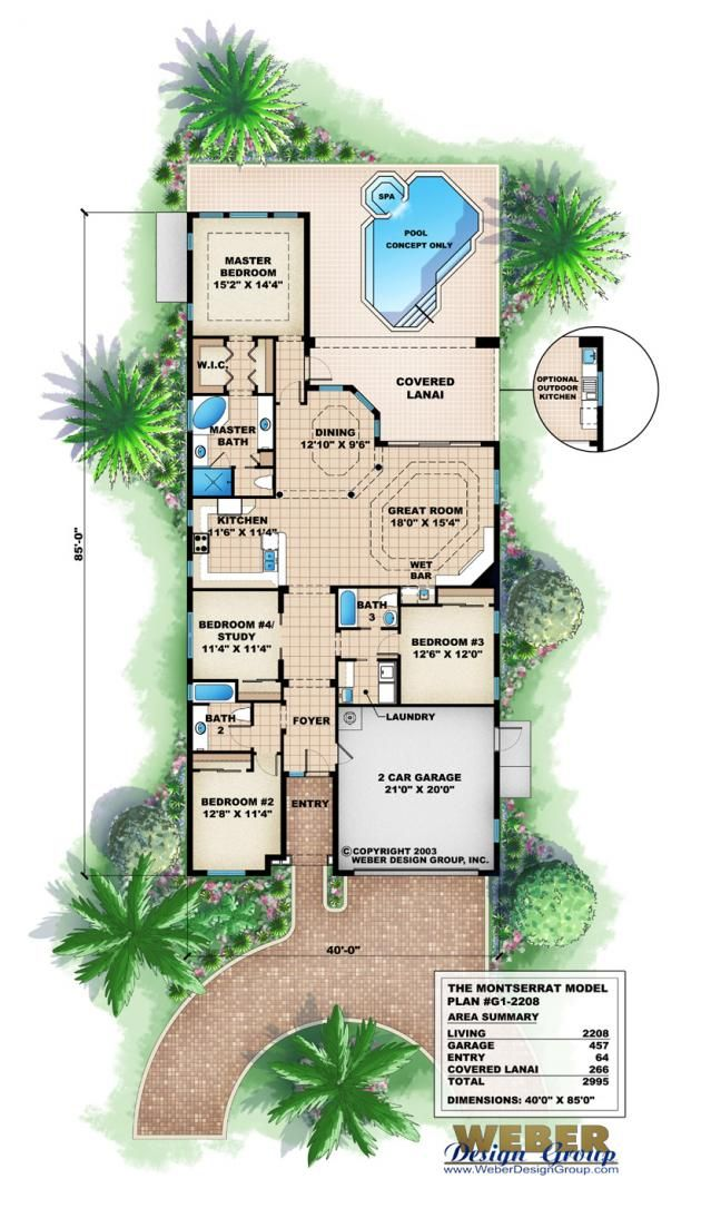 narrow lot house plan - montserrat home planweber design group