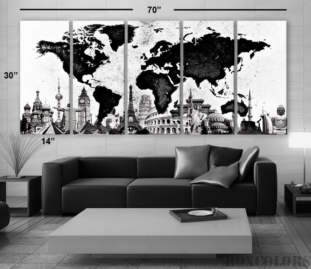 Xlarge 30x 70 5 panels art canvas print original wonders of the xlarge 30x 70 5 panels art canvas print original wonders of the world map black white wall decor home interior framed 15 depth gumiabroncs Choice Image