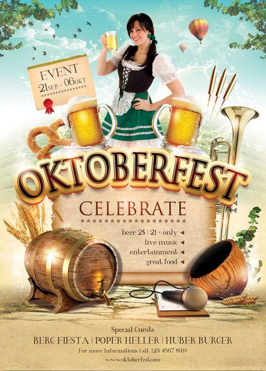 oktoberfest flyer template on behance | oktoberfest | pinterest, Einladung