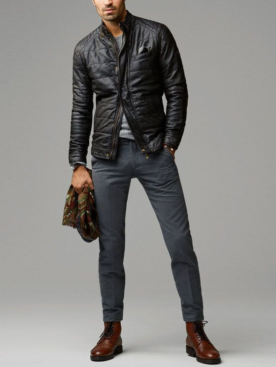 Men's Black Quilted Leather Bomber Jacket, Grey Crew-neck Sweater ...